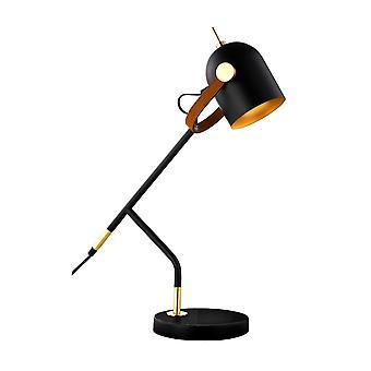 Lampada da tavolo da tavolo, nero opaco, vernice oro, 1x E14