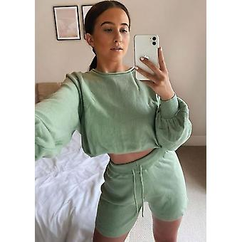Knitted Crop Top and Shorts Co Ord Loungewear Set Green