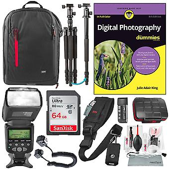 Digital photography for dummies premium bundle w/ i-ttl af power zoom flash, professional sturdy tripod, 64gb, & much more for