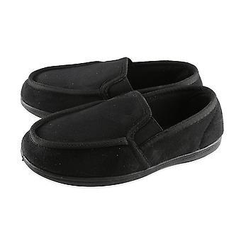 Dunlop Mens Gusset Moccasin Slippers - Black