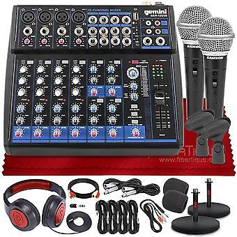 Gemini compacto profissional 12 canal bluetooth habilitado misturador de áudio analógico gem-012usb + tascam th-mx2 misturando fones de ouvido, r21s dinâmico ps12615
