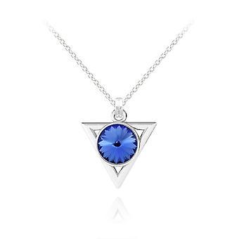 Silver blue geniune sapphire pendant necklace