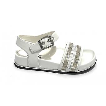 Children's Shoes Liu-jo Sandalo Cleo 59 White With Rhinestones Zs21lj23 4a1791