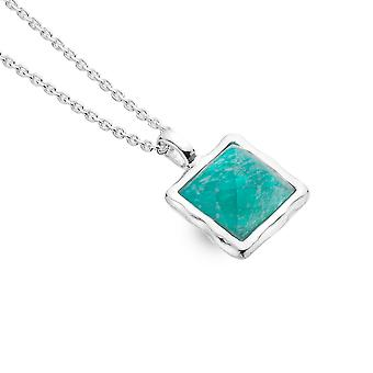 Sterling Silver Pendant Necklace - Origins Square Faceted Amazonite