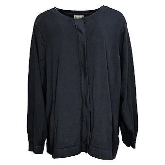 Martha Stewart mujeres's plus zip-front suéter bomber chaqueta negra A388811
