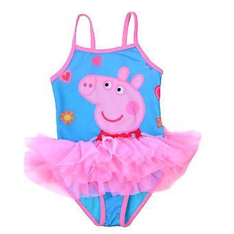 Maiô infantil de uma peça de porco de menina de desenho animado roupa de banho
