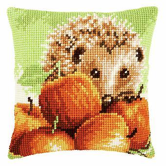 Vervaco Cross Stitch Kit: Coussin: Hérisson avec pommes