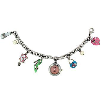 GTP Teens/Girls/Ladies 7 Hanging Charms Bracelet Analogue Quartz Watch on Chrome Plated and Painted Alloy IMP755