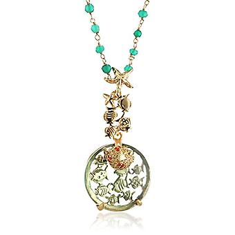 MISIS Women's-Necklace Deep Reef Silver 925 Zircons Colored Agata Obsidian Green 50 cm - CI05652
