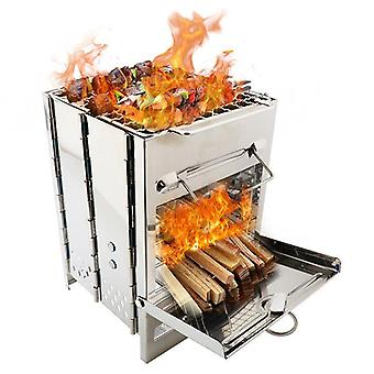 Square Wood Stove For Outdoors Camping Bbq Boiling Cooking