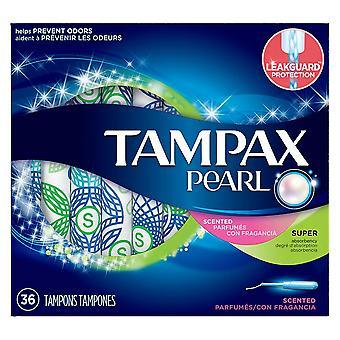 Tampax pearl plastic applicator tampons, super, fresh scent, 36 ea