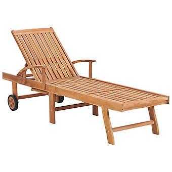 vidaXL tumbona con almohadilla de madera maciza de antracita de teca