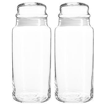 2x Sera Glass Storage Jars Sweet Candy Food Pots Sealed Lid 1.4 Litre White