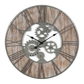 "HOMETIME שעון מתכת עגולה וקיר עץ גדול 80 ס""מ"