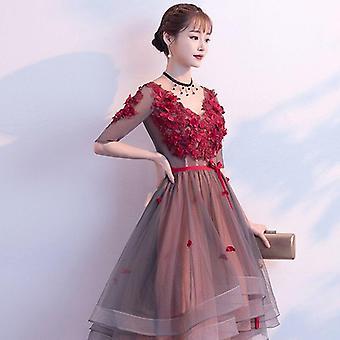 Kvetinová družička V-neck Elegantné hruška party nevesta šaty