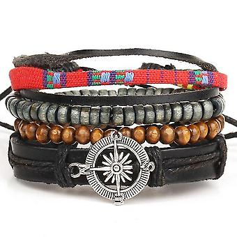 Compass Anchor Bracelet Multi-layer Leather Jewelry