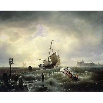 ingang tot de haven van Hellevoetsluis,Andreas Achenbach
