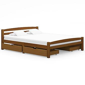 vidaXL Bettgestell 4 Schubladen Honigbraun Massivholz Kiefer 160x200cm
