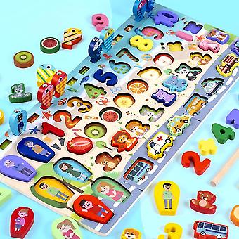Wooden Math Toys Character Traffic Animal Fruit Magnetic Fishing  Toys|Math Toys
