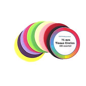 480 Assorted Colours Tissue Paper Circles for Kids Crafts - 75mm