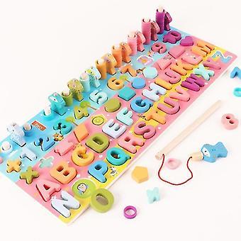 قراءة اللعب montessori التعليمية لوحة خشبية الرياضيات الصيد العد أرقام الشكل الرقمي
