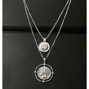 Vintage Golden Carved Coin Necklace(Silvery)