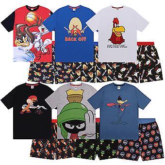Looney Tunes Mens Pyjamas Short Space Jam Taz Daffy Duck Elmer Fudd OFFICIAL