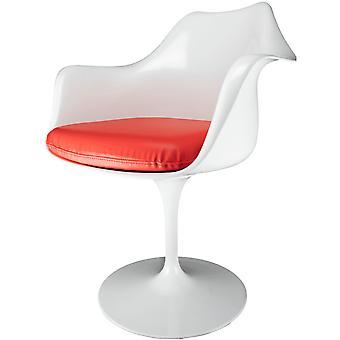 Fusion Living Glansig vit och röd PU svängbar fåtölj