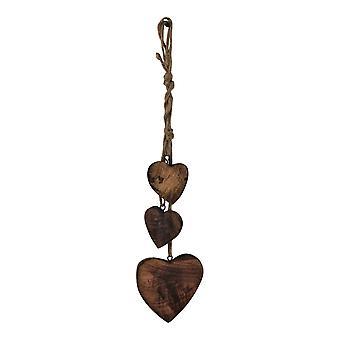 Trois décorations de cœur en bois suspendu, bois sombre