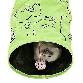 Pet Tunnel Cat Trykt Grøn Tunnel Legetøj med Ball Play Fun Legetøj Tunnel Bulk Cat Legetøj Tunnel