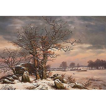 Wallpaper Art Mural Winter Landscape near Vordingborg in Denmark by J.C. Dahl