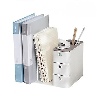 Drawer Type Desk Organizer With Sliding Drawer, 2 Upright Sections(Gray)