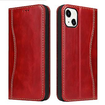 Para iPhone 13 Mini Funda Red Fierre Shann Genuine Cowhide Leather Wallet Cover