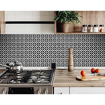 """4"""" X 4"""" Black and White Medeci Peel and Stick Removable Tiles"""