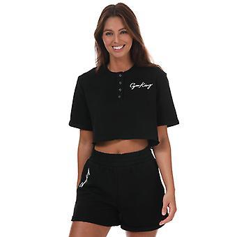 Women's Gym King Button Crop T-Shirt in Black