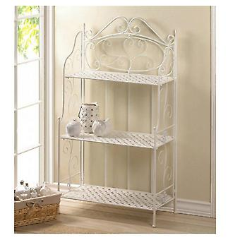 Accent Plus White Iron Scrolling Flourish Baker's Rack, Pack of 1