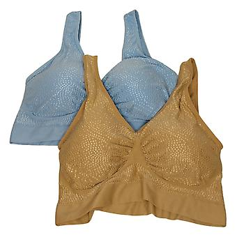 Rhonda Shear SzXXL DD2-pack Jacquard Dot Seamless Blue Bra Set Soutien-gorge 758369