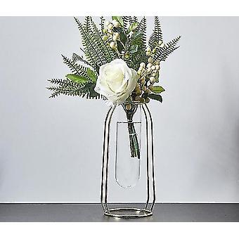 Nordisk stil guldpläterade miljövänliga metalldekorvaser med blommor (Golden Height 24cm15)