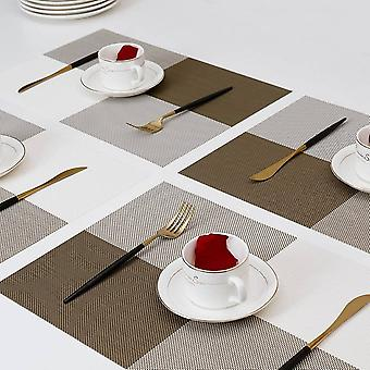 Placemats For Dining Table,place Mats Heat-resistant Non-slip Washable And Easy To Cut Set Of 6 (brown)