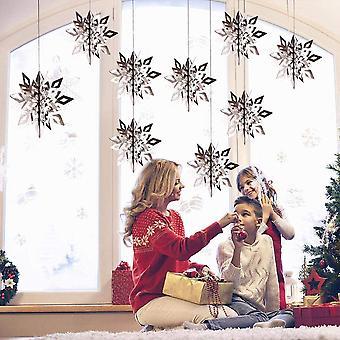 12pcs 3d Snowflake Décorations suspendues pour Noël Vacances d'hiver Fête du Nouvel An