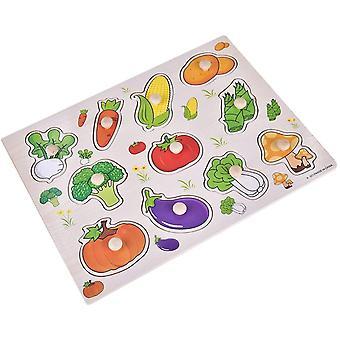 Fa Peg Puzzle 1set Kisgyermekek Korai oktatási 4 Styles Zöldségek