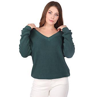 grønn v-hals kvinners strikkevarer genser