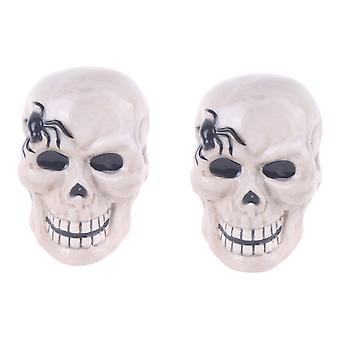Smiling Skeleton Skulls with Spiders Halloween Salt and Pepper Shakers Set