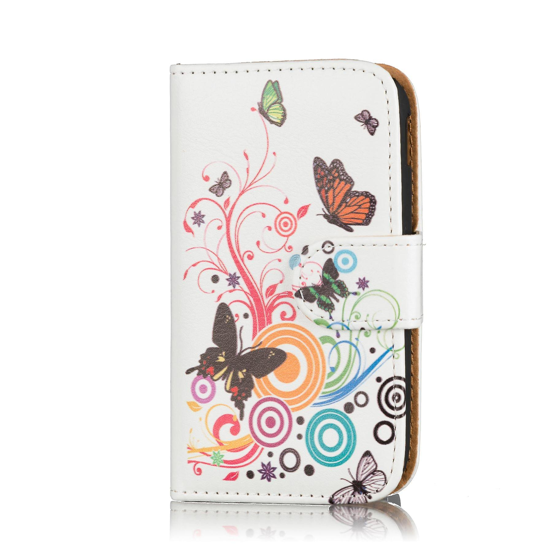 Design Book wallet PU leather case for Nokia Lumia 1520 - Colour Butterfly