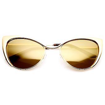 Naisten muoti Full Metal väri peilattu linssi Cat Eye aurinkolasit