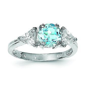 925 Sterling Silver polerad Ring Blue Topaz smycken Gåvor för kvinnor - Ring Storlek: 6 till 8