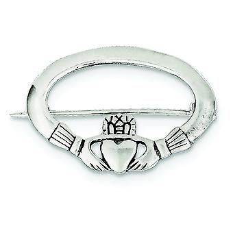 925 Sterling Silver Solid Polished Textured back Irish Claddagh Celtic Trinity Knot Pin Jewelry Gifts for Women
