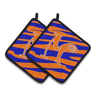Monogram Initial M Tiger Stripe Blue and Orange Pair of Pot Holders