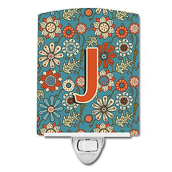 Carolines Treasures  CJ2012-JCNL Letter J Flowers Retro Blue Ceramic Night Light