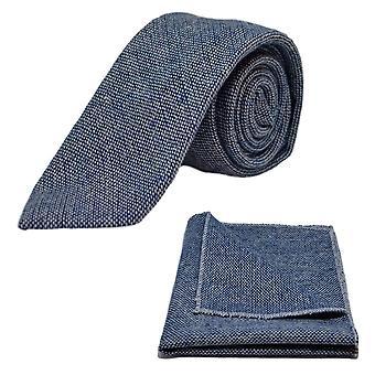 Highland weben Stonewashed blaue Krawatte & Einstecktuch festlegen